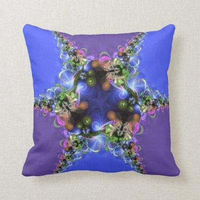 Purple Blue Fractal Twist Home Decor Jumbo Cushion Throw Pillow