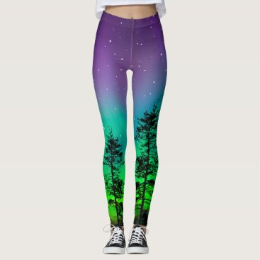 Beach Themed Purple Blue Galaxy Stars Redwood Tree Cool Fashion Leggings