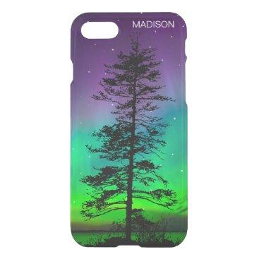 Beach Themed Purple Blue Galaxy Stars Tree Silhouette Aurora iPhone 8/7 Case