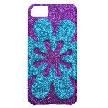 Purple & Blue Glitter Retro Flower Cover For iPhone 5C