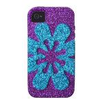 Purple & Blue Glitter Retro Flower iPhone 4/4S Cases