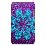 Purple & Blue Glitter Retro Flower Barely There iPod Case