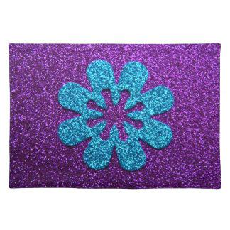 Purple & Blue Glitter Retro Flower Cloth Placemat