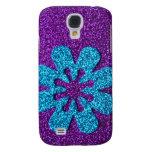 Purple & Blue Glitter Retro Flower Galaxy S4 Cover