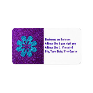 Purple & Blue Glitter Retro Flower Label