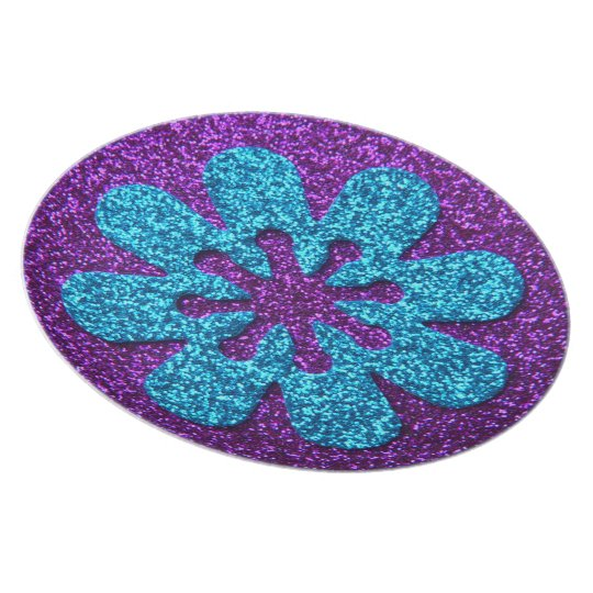 Purple & Blue Glitter Retro Flower Melamine Plate