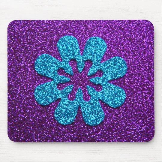 Purple & Blue Glitter Retro Flower Mouse Pad