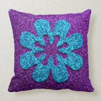 Purple & Blue Glitter Retro Flower Pillows