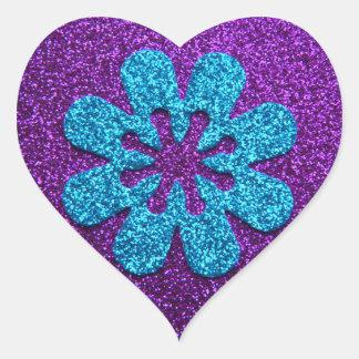 Purple & Blue Glitter Retro Flower Heart Sticker