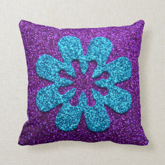 Purple & Blue Glitter Retro Flower Throw Pillow