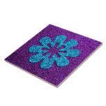 Purple & Blue Glitter Retro Flower Tiles