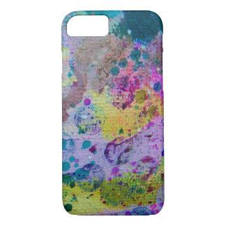 Purple blue & green abstract splatter cell cas iPhone 7 case