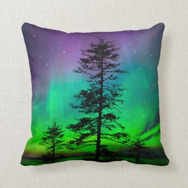 Beach Themed Purple Blue Green Aurora Galaxy Stars Trees Throw Pillow