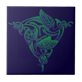 Purple-Blue Green Celtic Bird Tile