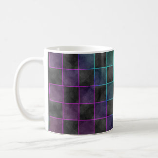 Purple Blue & Green Grunge Squares Coffee Mug
