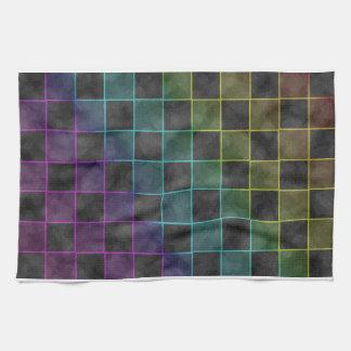 Purple Blue & Green Grunge Squares Hand Towel