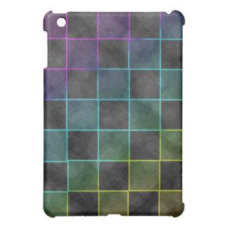 Purple Blue & Green Grunge Squares iPad Mini Covers