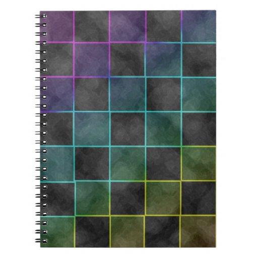 Purple Blue & Green Grunge Squares Spiral Notebook