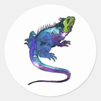 Purple, Blue & Green Iguana Mosaic Classic Round Sticker