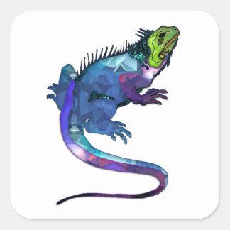 Purple, Blue & Green Iguana Mosaic Square Stickers