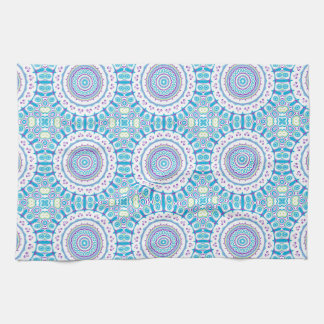 Purple, Blue U0026amp; Green Kaleidoscope Flowers Design Kitchen Towel