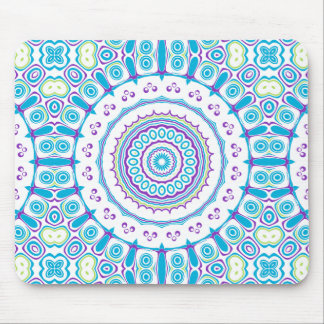 Purple, Blue & Green Kaleidoscope Flowers Design Mouse Pad