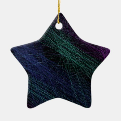 Purple Blue Green Laser Light Show Abstract Double-Sided Star Ceramic Christmas Ornament