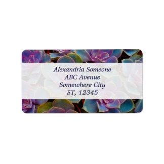 Purple Blue Green Succulent Cactus Plant Address Label
