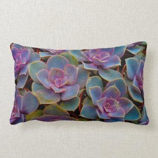 Purple Blue Green Succulent Cactus Plant Lumbar Pillow