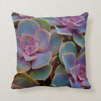 Purple Blue Green Succulent Cactus Plant Throw Pillow
