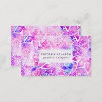 Purple blue henna boho floral mandala pattern business card