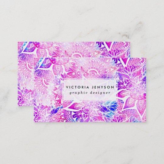 Purple Blue Henna Boho Floral Mandala Pattern Business Card Zazzle Com