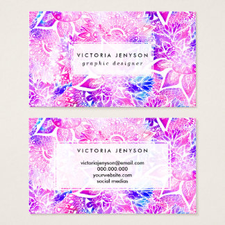 Purple blue henna boho floral mandala pattern business card
