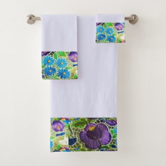Purple -blue Hungarian embroidery look Bath Towel Set