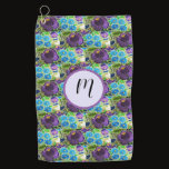 Purple -blue Hungarian embroidery look  Golf Towel
