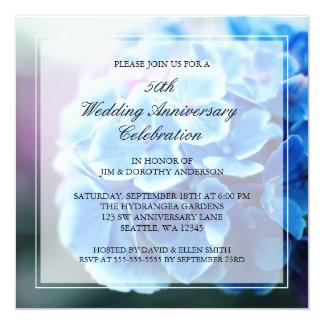 Purple Blue Hydrangea 50th Wedding Anniversary Card