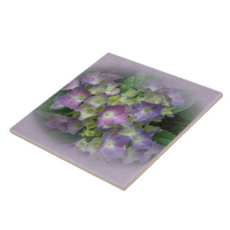 Purple Blue Hydrangea Flowers Ceramic Tile