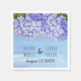Purple blue hydrangea watercolor floral wedding napkin