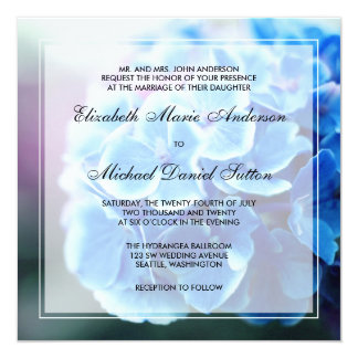 Purple Blue Hydrangea Wedding Custom Announcement
