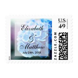 Purple Blue Hydrangea Wedding Stamp