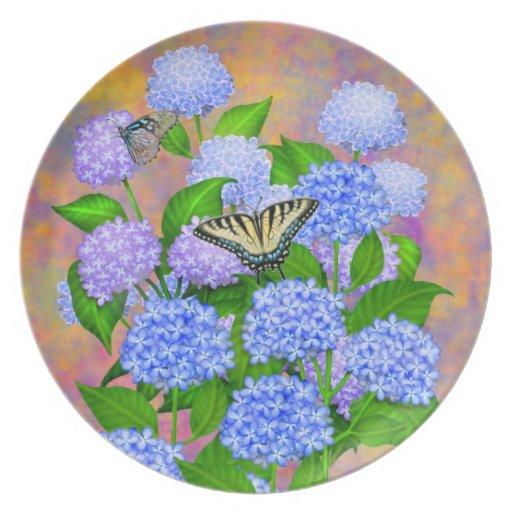 Purple Blue Hydrangeas Floral Plate