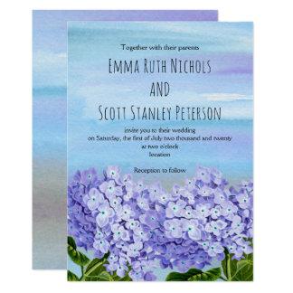 Purple, blue hydrangeas watercolor floral wedding card