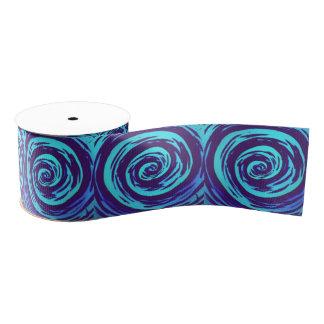 Purple & Blue Hypnotic Swirl Art Grosgrain Ribbon