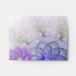 Purple & Blue Lacy Flower Fractal Design Envelopes