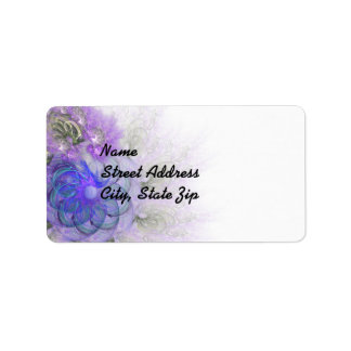 Purple & Blue Lacy Flower Fractal Design Label