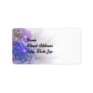 Purple & Blue Lacy Flower Fractal Design Address Label