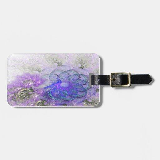Purple & Blue Lacy Flower Fractal Design Luggage Tag