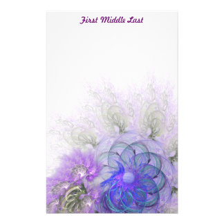 Purple & Blue Lacy Flower Fractal Design Stationery Paper