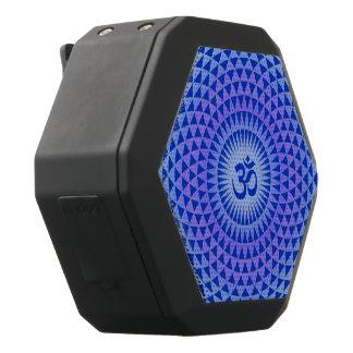 Purple Blue Lotus flower meditation wheel OM Black Bluetooth Speaker
