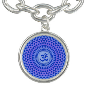 Purple Blue Lotus flower meditation wheel OM Bracelets